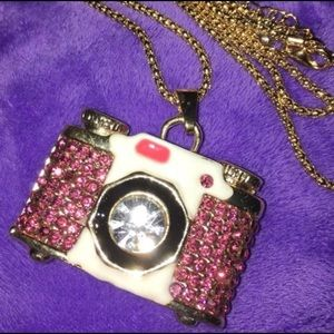 ☘️Reduced! Betsey Johnson Pink Camera Necklace